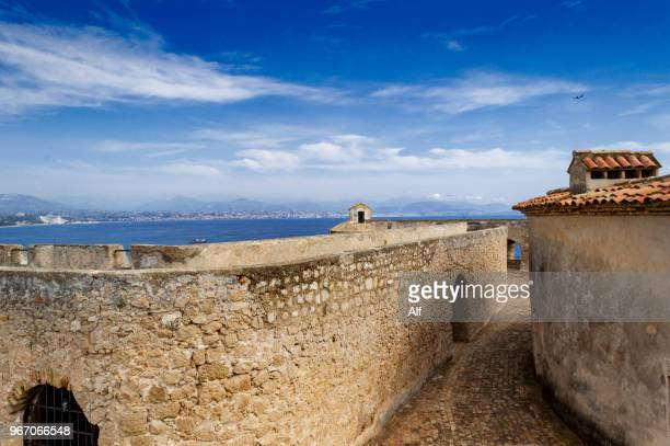 exterior view of fort carré de antibes, french riviera, france - antibes stock photos and pictures