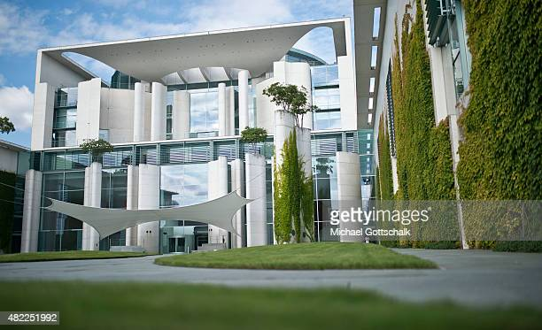 Exterior View of German Chancellery or Bundeskanzleramt on July 29 2015 in Berlin Germany