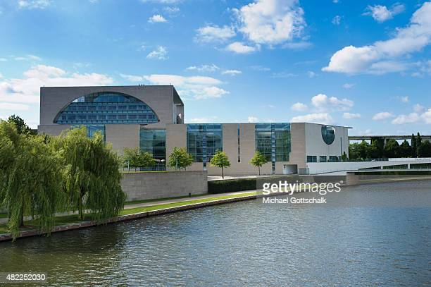 Exterior View of German Chancellery or Bundeskanzleramt seen behind river spree on July 29 2015 in Berlin Germany
