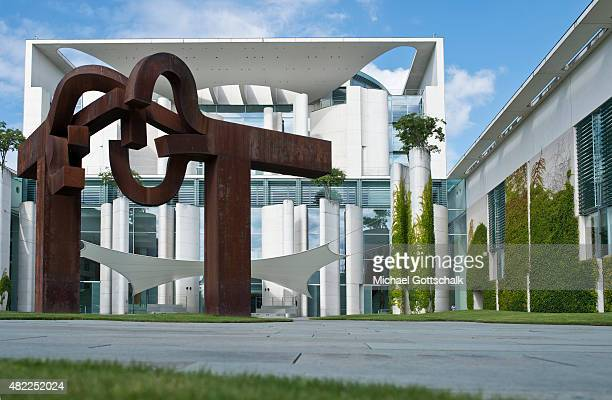 Exterior View of German Chancellery or Bundeskanzleramt with art plastic ' Berlin ' of Artist Eduardo Chillidas on July 29 2015 in Berlin Germany