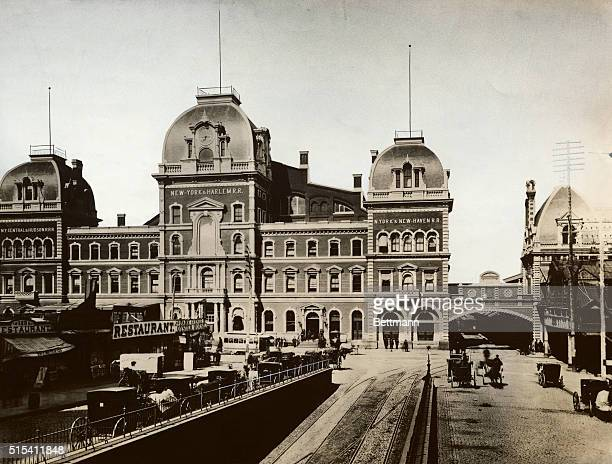 Exterior view of Grand Central Depot, serving the New York Central and Hudson Railroad, the New York and Harlem Railroad, and the New York and New...