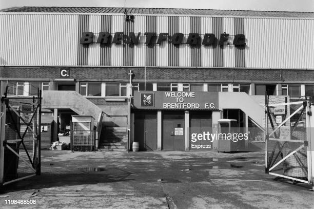 Exterior view of Griffin Park the home ground of soccer team Brentford FC UK 16th March 1985