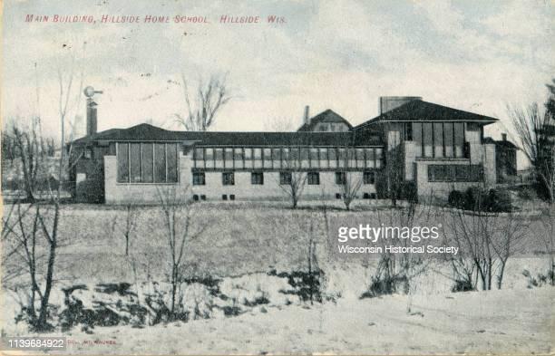 Exterior view of Hillside Home School, Spring Green, Wisconsin, 1910.