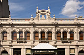 Exterior view of historic Her Majestys Theatre