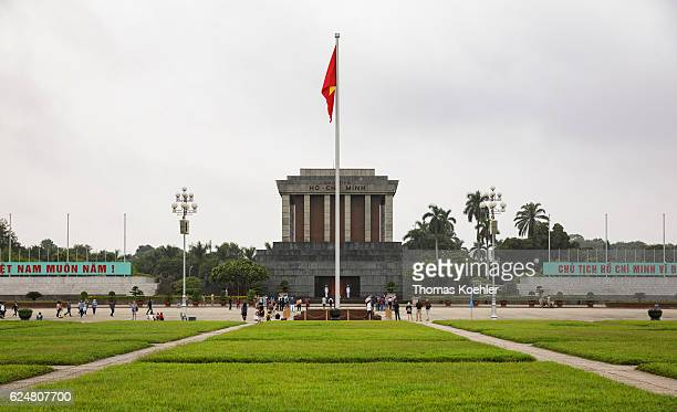 Exterior view of Ho Chi Minh Mausoleum in Hanoi on October 31 2016 in Hanoi Vietnam
