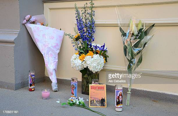 Exterior view of James Gandolfini's apartment where floral tributes have been left outside by fans on June 20 2013 in New York City Gandolfini passed...