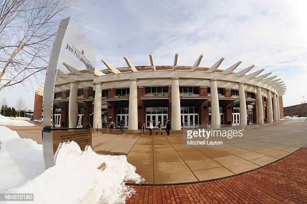 Exterior view of John Paul Jones Arena before a college basketball game between the Virginia Cavaliers and the Florida State Seminoles at John Paul...