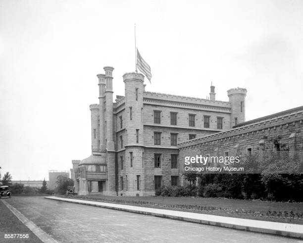 Exterior view of Joliet Prison where several Chicago gangsters spent their time once arrested Joliet IL ca1920s It was designed William Boyington the...