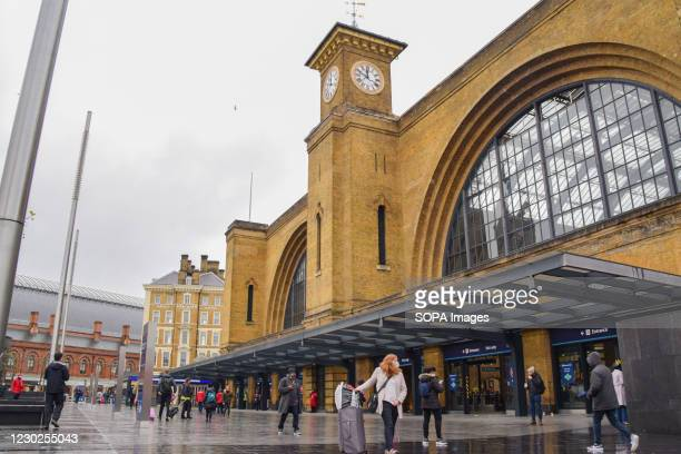 Exterior view of King's Cross railway station in London. International and domestic travel restrictions have been imposed in the UK, as concern grows...