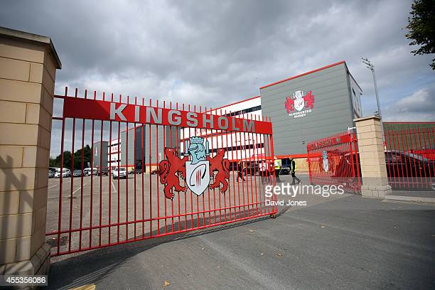 Exterior view of Kingsholm home of Gloucester Rugby before the Aviva Premiership match between Gloucester Rugby and Sales Sharks at Kingsholm on...