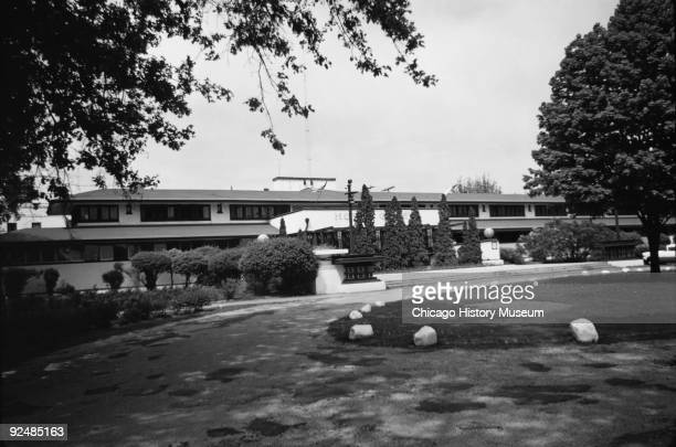 Exterior view of Lake Geneva Hotel in Wisconsin June 1956 The building was designed by Frank Lloyd Wright Demolished in 1970 this view depicts a long...
