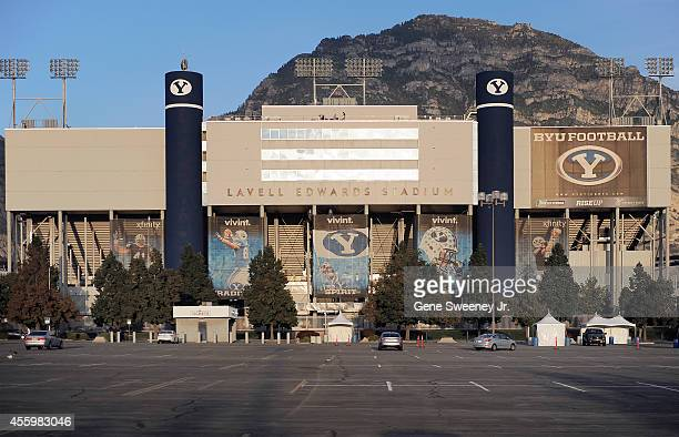 Exterior view of LaVell Edwards Stadium home to the Brigham Young Cougars on September 20 2014 in Provo Utah
