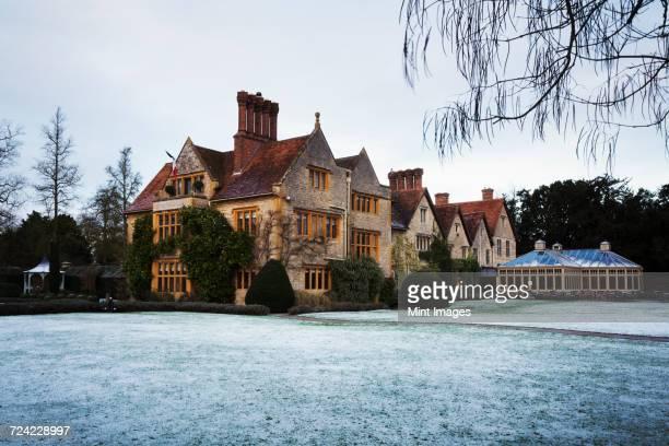 Exterior view of Le Manoir aux QuatSaisons, Oxfordshire in winter.