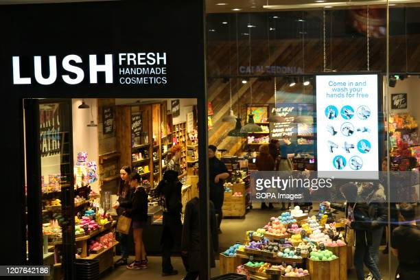 Exterior view of Lush in London, UK.