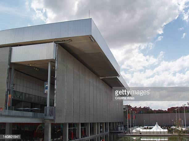 Exterior view of main building of the Magic Box, with their retractables roofs, The Magic Box is a sports complex for tennis which was designed by...