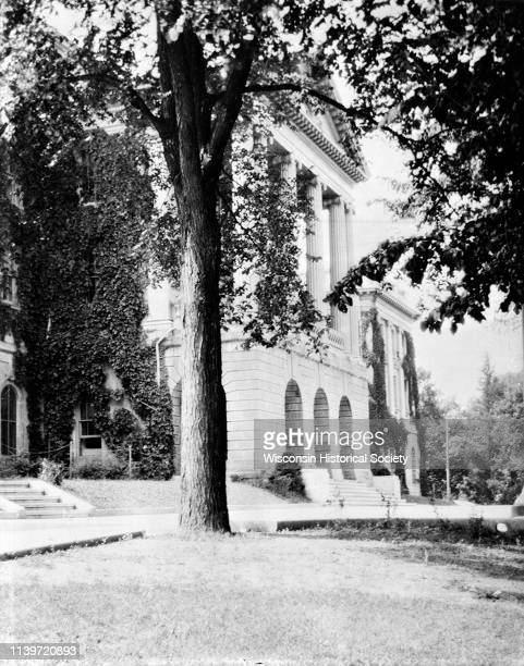 Exterior view of main entrance of Bascom Hall on the University of WisconsinMadison campus Madison Wisconsin 1925