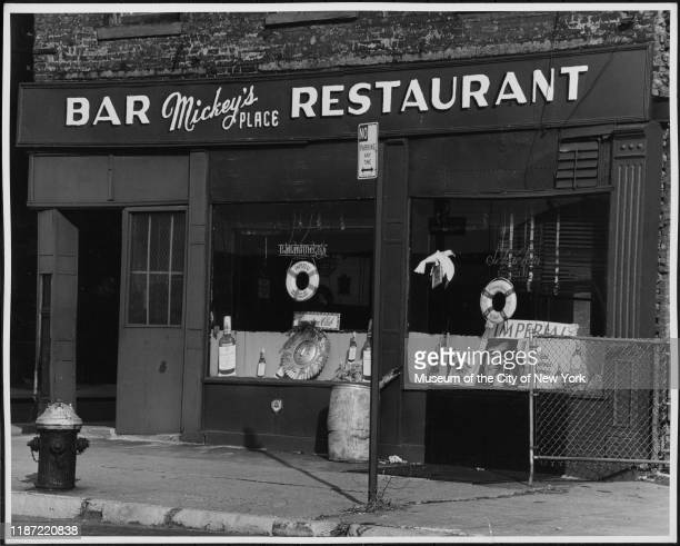 Exterior view of Mickey's Place Bar and Restaurant in the Tribeca neighborhood, New York, New York, circa 1975.