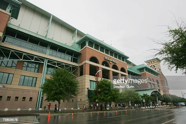 Exterior view of Minute Maid Park prior to the opening day game between the Pittsburgh Pirates and the Houston Astros on April 2 2007 in Houston...