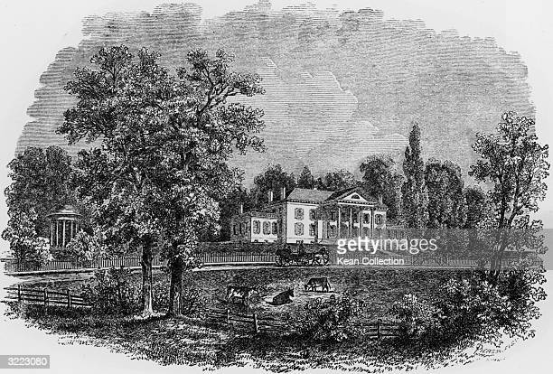 Exterior view of Montpilier the home of American president James Madison Orange Virginia early 1800s Cows graze across the street and a horsedrawn...