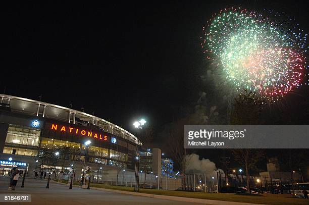 Exterior view of Nationals Park during fireworks after a baseball game between the Baltimore Orioles and the Washington Nationals on June 27 2008 in...