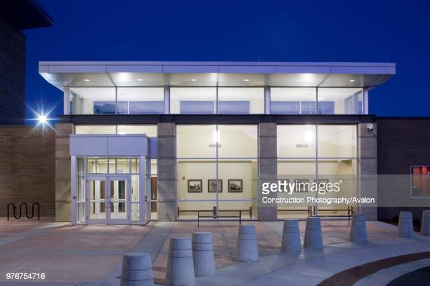 Exterior view of new court house / police station in central Utah. Shot taken at dawn. This is the main entrance to the police station.