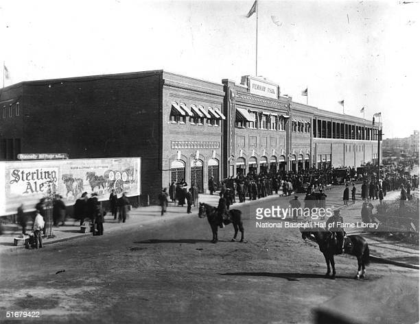 Exterior view of newly built Fenway Park in Boston, Massachusetts. Fenway Park officially opened on April 20, 1912 and continues to be used to this...