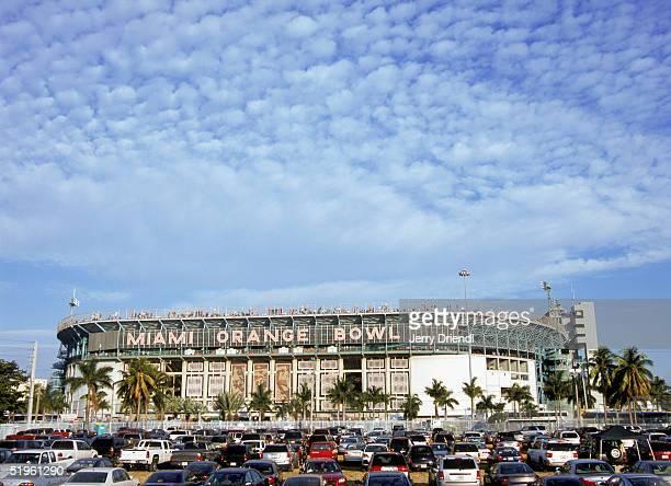 Exterior view of Orange Bowl Stadium as the University of Miami Hurricanes host Virginia Tech on December 4, 2004 in Miami, Florida.