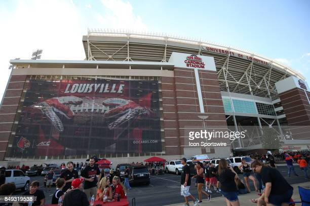 A exterior view of Papa Johns Cardinal Stadium before the NCAA football game against the Clemson Tigers and the Louisville Cardinals on September...