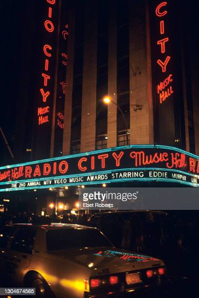 Exterior view of Radio City Music Hall during the 1985 MTV Video Music Awards, New York City on September 13, 1985.