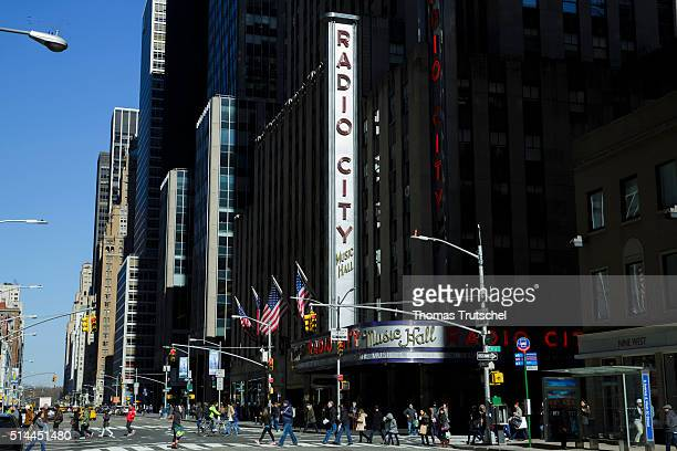 New York United States of America February 27 Exterior view of Radio City Music Hall in Manhattan on February 27 2016 in New York United States of...