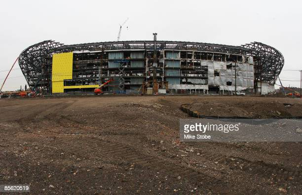 A exterior view of Red Bull Arena which is currently under construction on March 26 2009 in Harrison New Jersey Red Bull Arena is the new home of the...