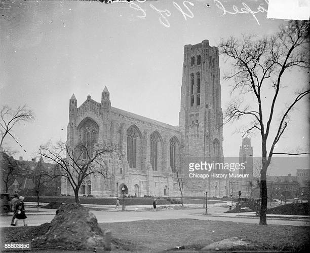 Exterior view of Rockefeller Chapel, designed by architect Bertram Goodhue, looking northwest from South Woodlawn Avenue, located on the University...