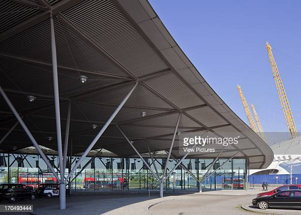 Exterior view of roof canopy and structure with nearby O2 Arena / Millennium Dome visible North Greenwich Transport Interchange Underground Station...