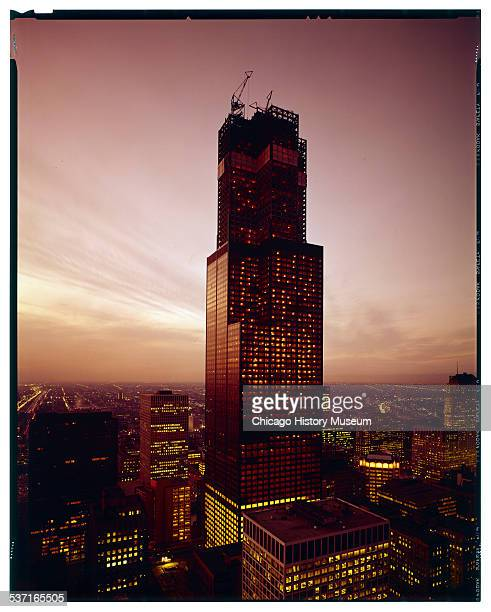 Exterior view of Sears Tower during its construction Chicago Illinois circa 1972