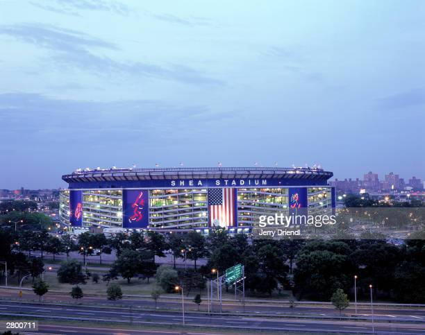 Exterior view of Shea Stadium at dusk during the National League game between the Philadelphia Phillies and the New York Mets at Shea Stadium on July...