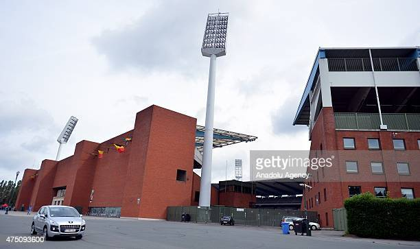 Exterior view of stadium during a ceremony marking the 30th anniversary of the tragedy at the stadium, renamed King Baudouin Stadium, in Brussels, on...