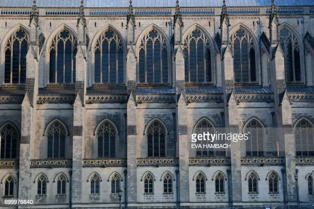 Exterior view of stained glass windows at the National Cathedral in Washington, DC June 20, 2017. - The Cathedral counts 215 stained glass windows....