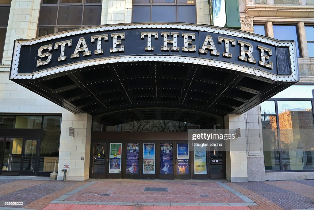 exterior view of state theater entrance on the historic euclid