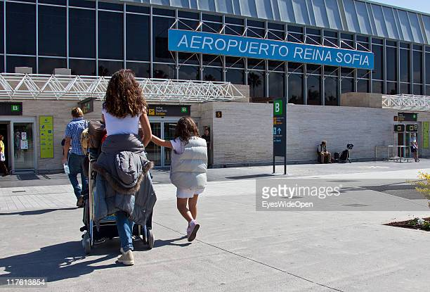 Exterior view of the Airport Reina Sofia with passengers on March 25 2011 in Tenerife Spain Tenerife is the biggest of the canary islands and because...