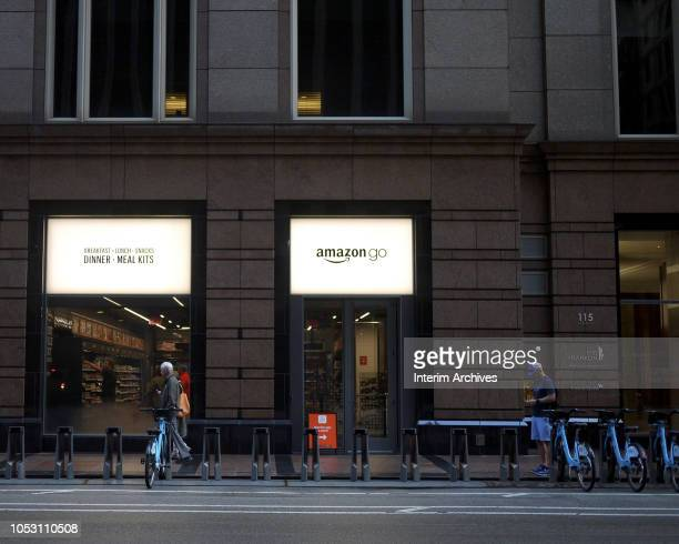 Exterior view of the Amazon Go store in Chicago Illinois October 8 2018 The store is located on 113 S Franklin Street in the Chicago Loop neighborhood