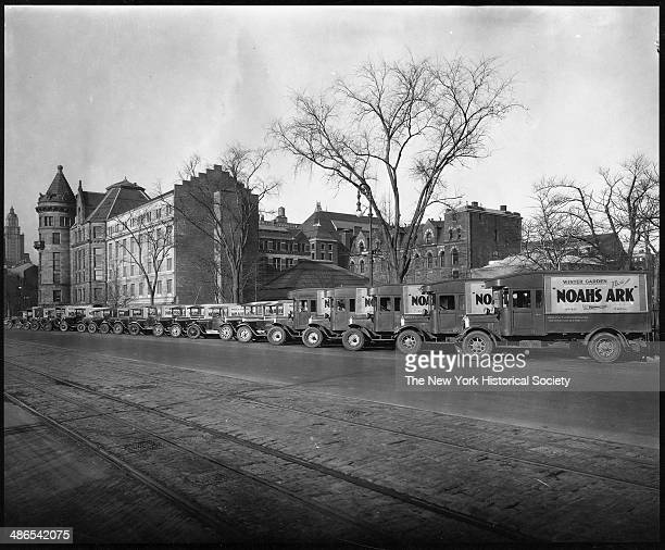 Exterior view of the American Museum of Natural History looking southeast from Central Park West just above 80th Street New York 1930 A row of trucks...