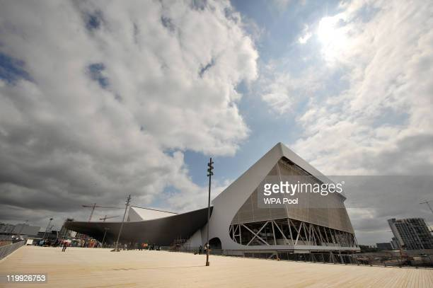 Exterior view of the Aquatics Centre venue for the London 2012 Olympic Games swimming events at the Olympic Park on July 27 2011 in Stratford east...