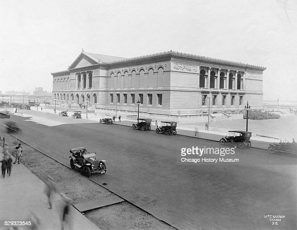 Exterior view of The Art Institute of Chicago, looking northeast from elevation across Michigan Avenue, Chicago, Illinois, circa 1920.