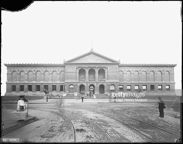 Exterior view of the Art Institute of Chicago, seen from Adams Street, Chicago, Illinois, circa 1892.