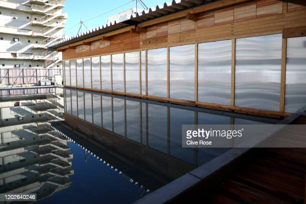 A exterior view of the Athletes' Village Plaza as it opens to media on January 29 2020 in Tokyo Japan