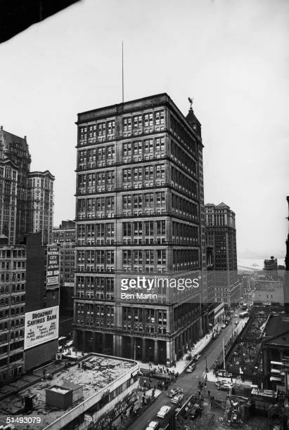 Exterior view of the AT&T building at 195 Broadway, designed by William Wells Bosworth, New York, New York, 1959. Visible at the extreme lower right...