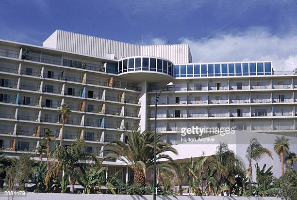 Exterior view of the balconies of the Beverly Hills Hilton, California, circa 1950s.