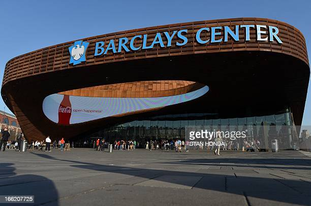 Exterior view of the Barclays Center before a Brooklyn Nets basketball game April 9 2013 in the Brooklyn borough of New York AFP PHOTO/Stan HONDA
