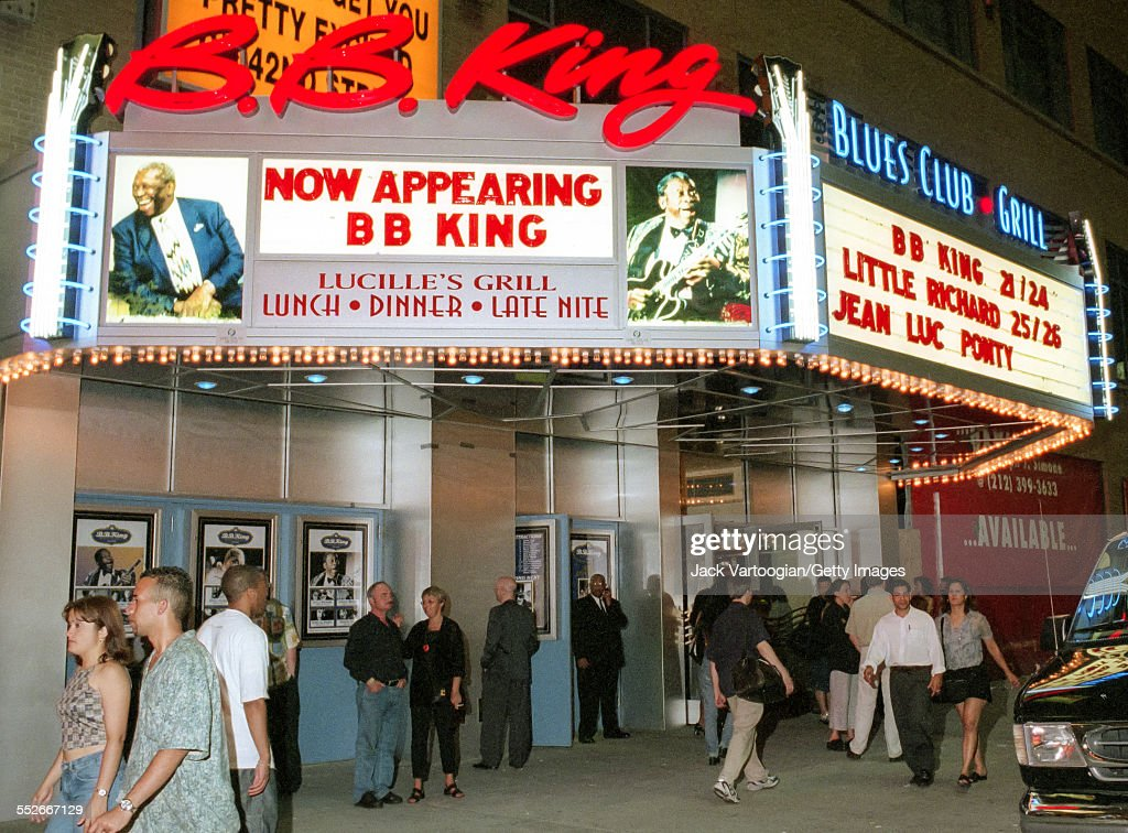 Exterior view of the BB King Blues Club & Grill during its opening weekend, New York, New York, June 25, 2000. The marquee announces shows by BB King, Little Richard, and Jean Luc Ponty.
