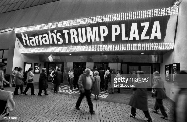 Exterior view of the Boardwalk entrance to Harrah's Trump Plaza casion, Atlantic City, New Jersey, 1985.